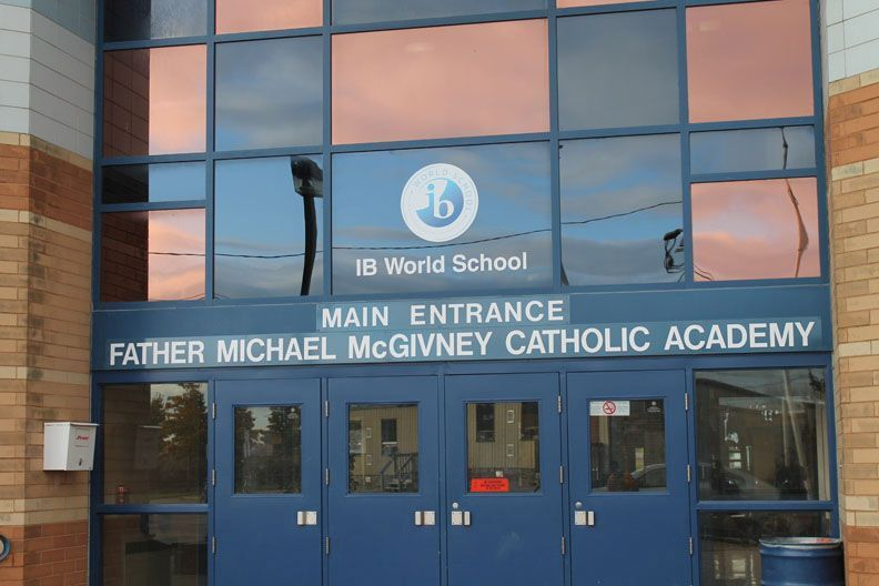 main entrance of Father Michael McGivney Catholic Academy
