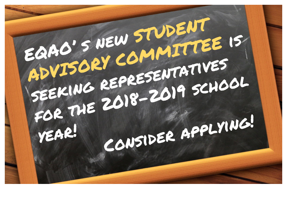 EQAO's new Student Advisory Committee is looking for student representatives