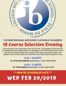 UPDATED ~ New Date for IB Course Selection Evening ~ Wed Feb 20th
