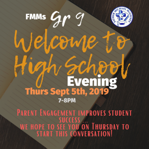 Gr 9 Welcome to High School Evening ~ THURS Sept 5th