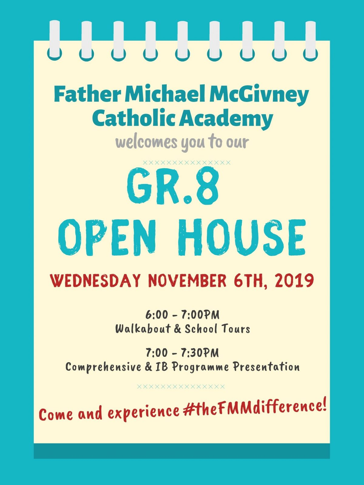 Gr.8 OPEN HOUSE ~ Wed Nov 6th, 2019