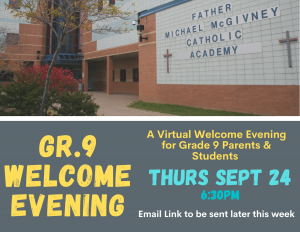 Gr. 9 Virtual Welcome Evening (for parents & students)