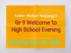 Grade 9 WELCOME EVENING Presentation (Sept 2020)