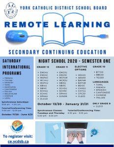 YCDSB Continuing Education Programming (Fall 2020)