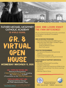 NEW DATE!!! FMM Virtual Gr. 8 OPEN HOUSE ~ Wed NOV 11th @ 6:30PM
