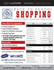 Uniform Shopping for School Start Up