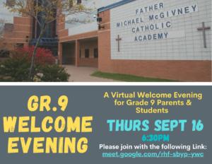 Gr9 Welcome Evening ~ THURS Sept 16th