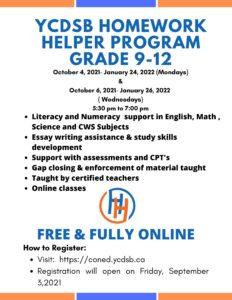 YCDSB Homework Helper Program